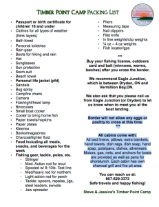 Timber Point Camp Packing List