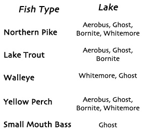 fish types and lakes available at Timber Point Camp